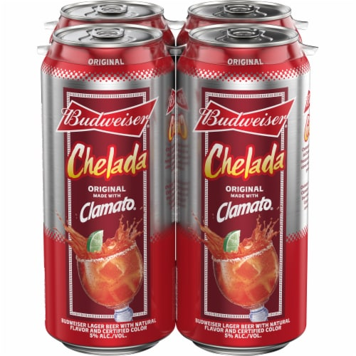 Budweiser and Clamato Chelada Beer Perspective: front