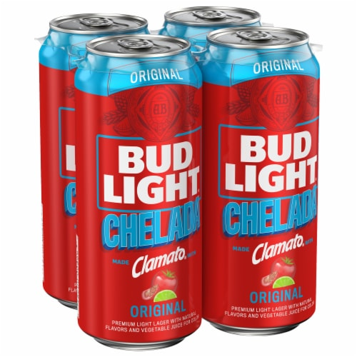 Bud Light Chelada with Clamato Lager Beer Perspective: front