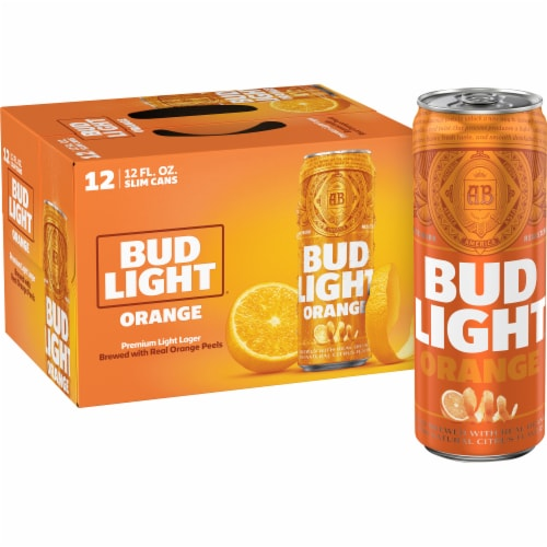 Bud Light Orange Lager Beer Perspective: front