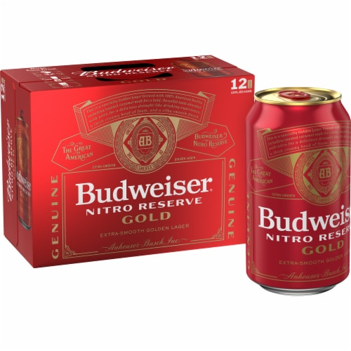 Budweiser Nitro Reserve Gold Lager Perspective: front