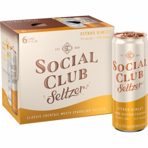 Social Club Seltzer Citrus Gimlet Hard Seltzer Cocktail Perspective: front