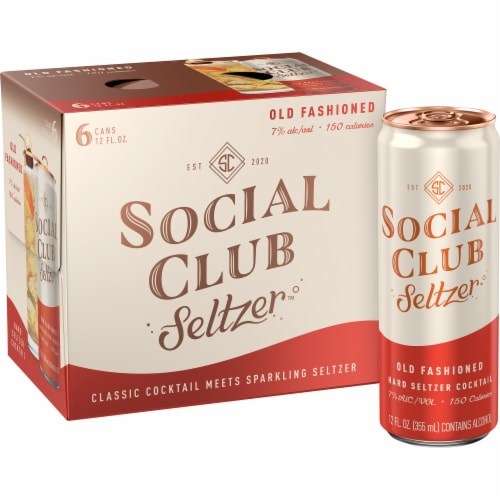 Social Club Seltzer Old Fashioned Hard Seltzer Cocktail Perspective: front