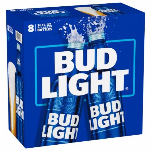 Bud Light Beer Reclosable Aluminum Bottles Perspective: front