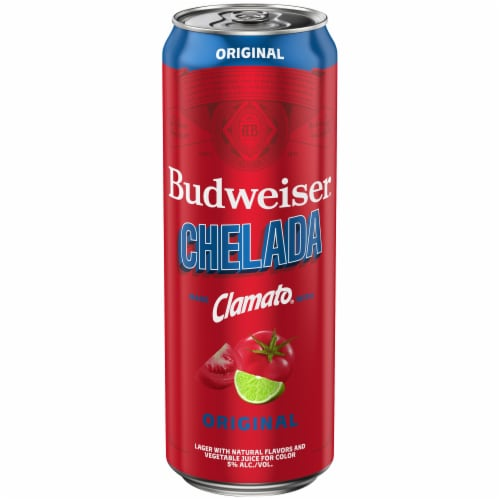 Budweiser & Clamato Chelada Beer Perspective: front