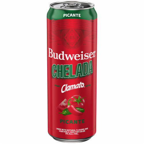 Budweiser Clamato Picante Chelada Beer Perspective: front