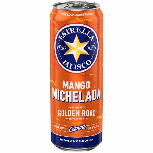 Estrella Jalisco Mango Michelada Beer Perspective: front