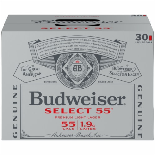 Budweiser Select 55 Light Lager Beer Perspective: front