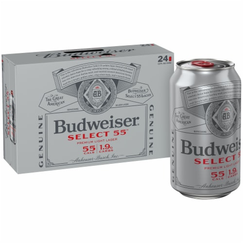 Budweiser Select 55 Premium Light Lager Beer Perspective: front