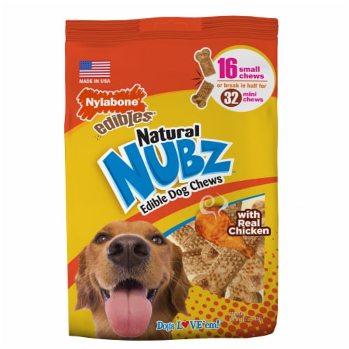 Nylabone® Edibles™ Natural Nubz™  with Real Chicken Dog Chews Perspective: front