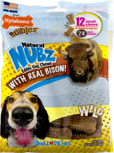 Nylabone Edibles Natural Nubz Wild Bison Flavor Small Chew Dog Treats Perspective: front