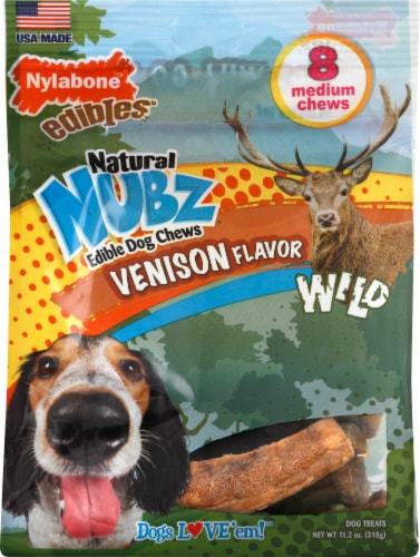 Nylabone Edibles Natural Nubz Venison Flavor Edible Dog Chews Perspective: front