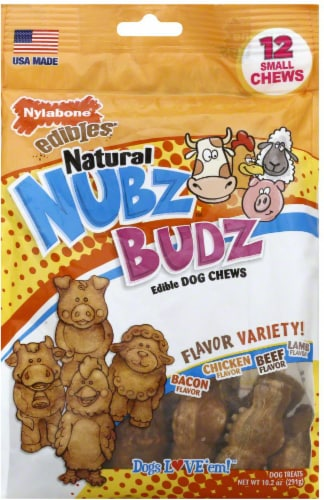 Nylabone Edibles Natural Nubz Budz Dog Small Chew Treats Variety Pack Perspective: front