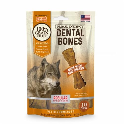 Nylabone Primal Instinct Chicken Flavored Regular Dental Bones Perspective: front