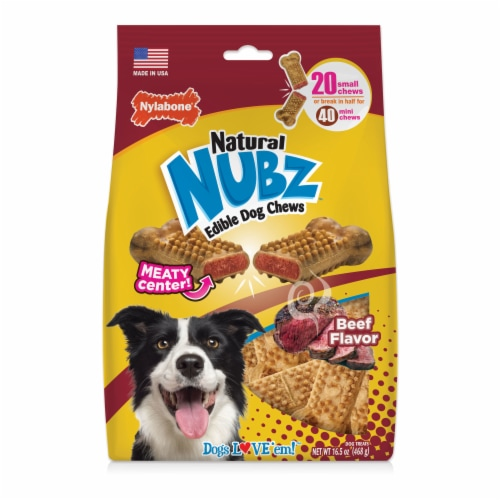 Nylabone Nubz Natural Beef Flavor Edible Dog Chews Perspective: front