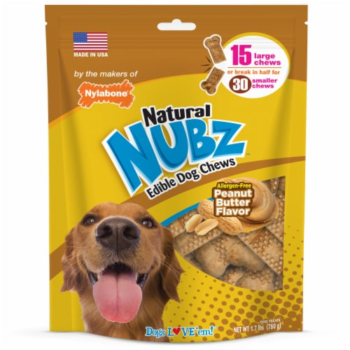 Nylabone Nubz Peanut Butter Flavor Edible Dog Chews Perspective: front
