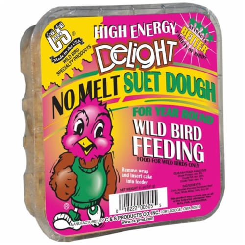 C & S Products 273962 11 oz High Energy Delight No Melt Suet Dough Cake - Pack of 8 Perspective: front