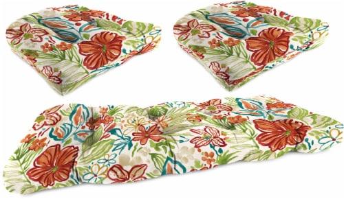 Jordan Manufacturing Wicker Settee Cushion Set - Valeda Breeze Perspective: front