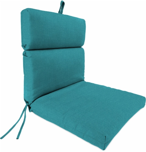 Jordan Manufacturing French Edge Chair Cushion - Husk Texture Lagoon Perspective: front