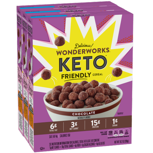 Wonderworks Chocolate Keto Friendly Cereal Perspective: front