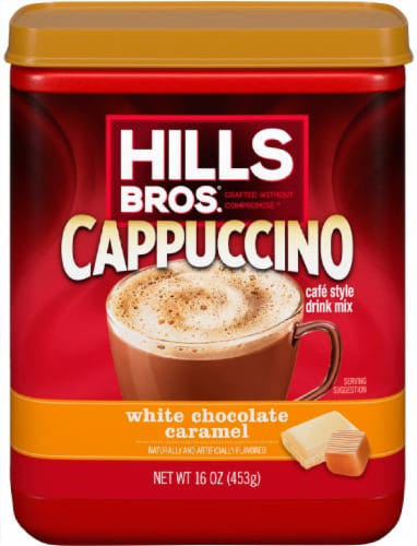 Hills Bros. White Chocolate & Caramel Cappuccino Drink Mix Perspective: front
