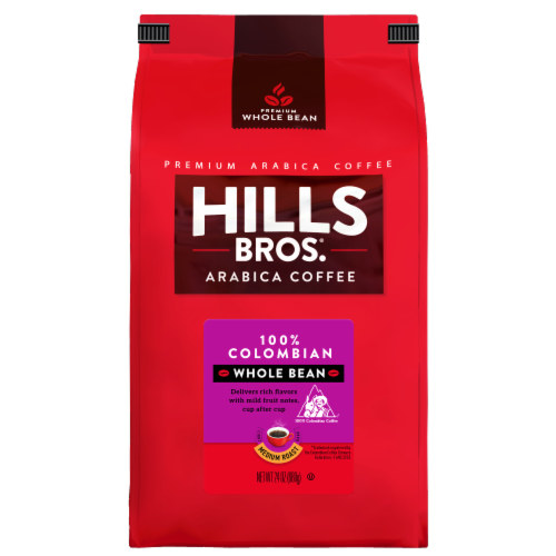 Hills Bros. 100% Colombian Medium Roast Whole Bean Coffee Perspective: front