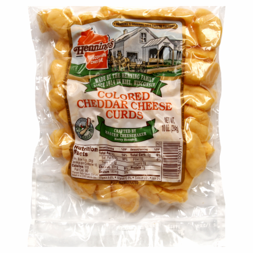 Hennings Colored Cheddar Cheese Curds Perspective: front