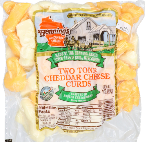 Henning's Wisconsin Cheese Two Tone Cheddar Cheese Curds Perspective: front