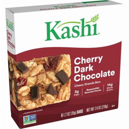 Kashi Cherry Dark Chocolate Chewy Granola Bars 6 Count Perspective: front