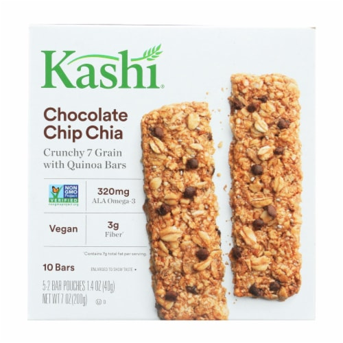Kashi Chocolate Chip Chia Crunchy Granola and Seed Bars - Case of 12 - 7 oz. Perspective: front