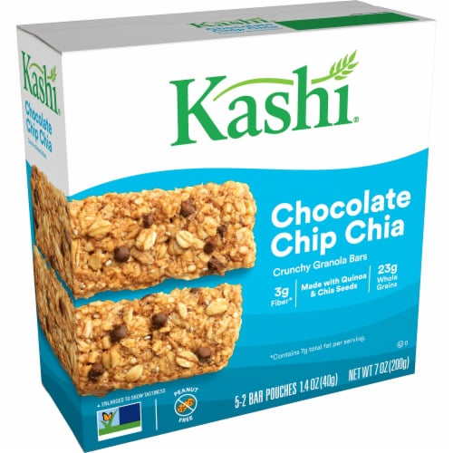 Kashi Vegan Crunchy Granola Bars Chocolate Chip Chia 5 Count Perspective: front