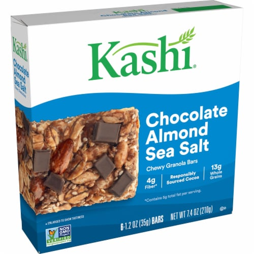 Kashi Vegan Chewy Granola Bars Chocolate Almond Sea Salt 6 Count Perspective: front