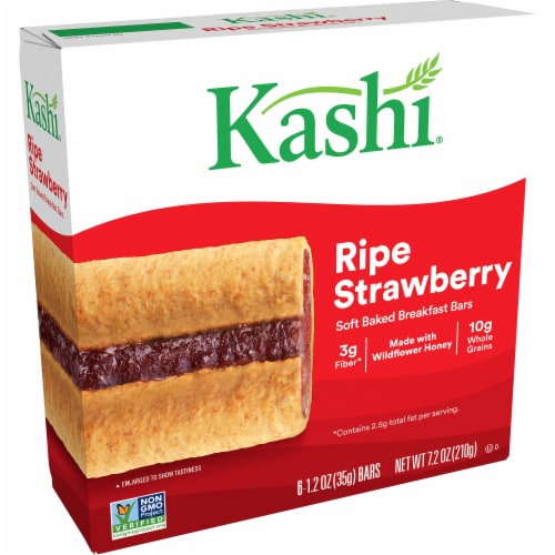 Kashi Soft Baked Breakfast Bars Ripe Strawberry 6 Count Perspective: front