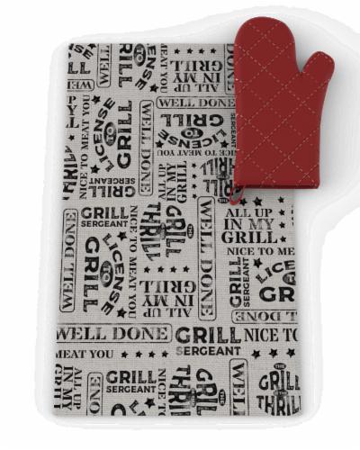 IG Design BBQ Towel & Oven Mitt Set Perspective: front