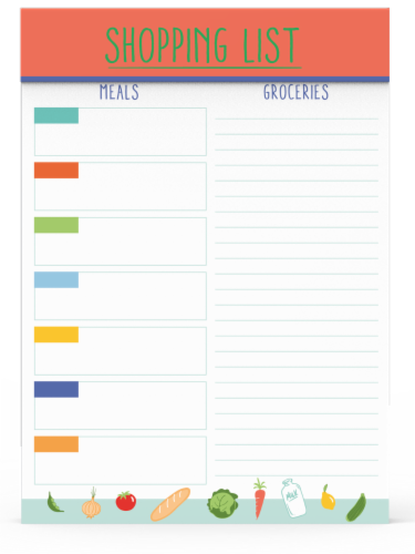 IG Design Grocery List Pad Perspective: front