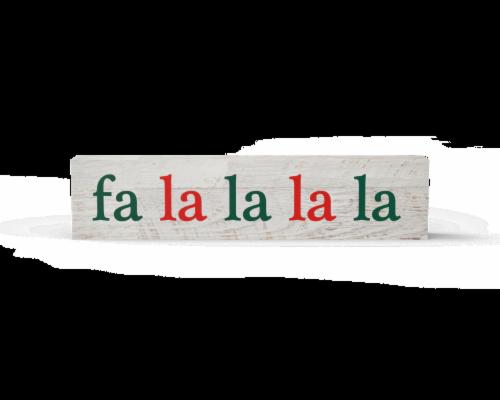 IG Design Fa La La Wood Block Sign Perspective: front