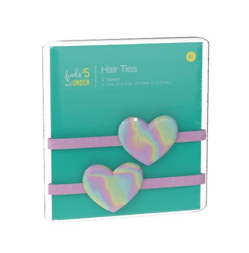 IG Design Holographic Heart Hair Ties Perspective: front