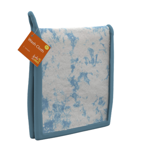 IG Design Tie Dye Wash Cloth - Blue/White Perspective: front