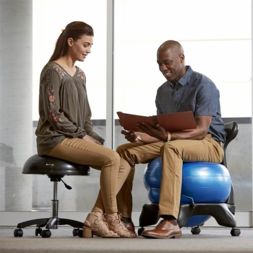 Gaiam Classic Gym Yoga Exercise Fitness Balance Ball Office Desk Chair, Blue Perspective: front