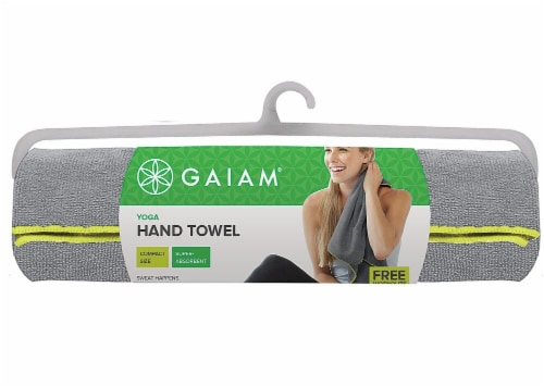 Gaiam Yoga Hand Towel - Grey/Citron Perspective: front
