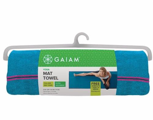 Gaiam Yoga Mat Towel - Vivid Blue/Fuchsia Perspective: front