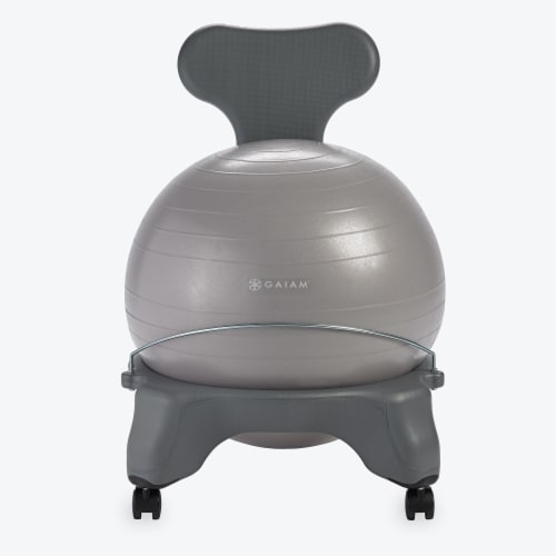 GAIAM Balance Ball Chair - Cool Grey Perspective: front