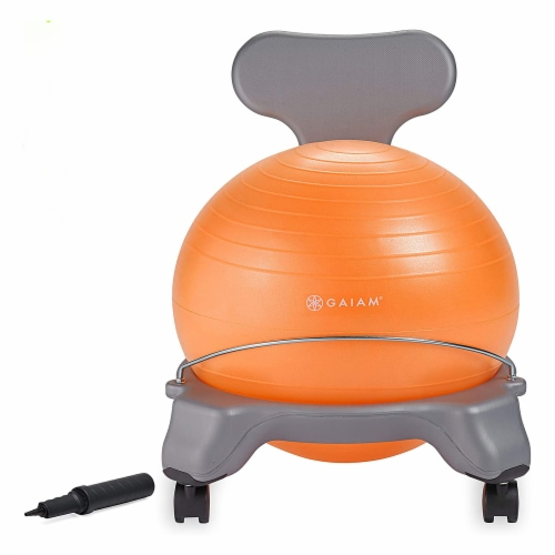 Gaiam Active Kid Classic Stability Balance Ball Chair with Reliable 4 Wheel Base Perspective: front