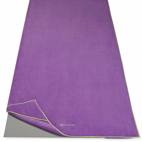 Gaiam Stay-Put Yoga Towel - Purple/Green Perspective: front