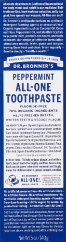 Dr. Bronner's Peppermint All-One Toothpaste Perspective: front