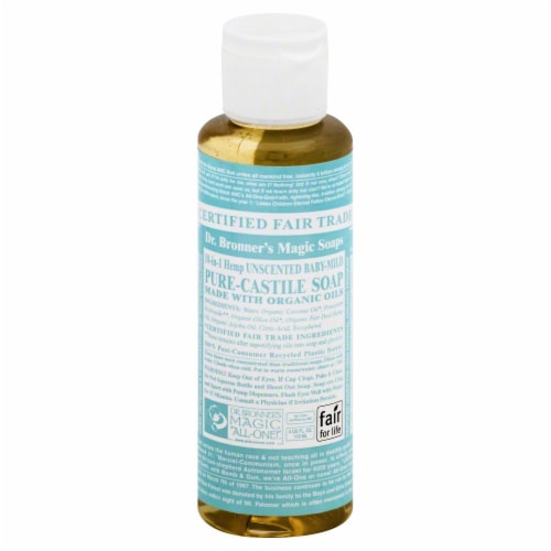 Dr. Bronner's Magic Soaps 18-in-1 Hemp Unscented Baby-Mild Pure-Castile Liquid Soap Perspective: front