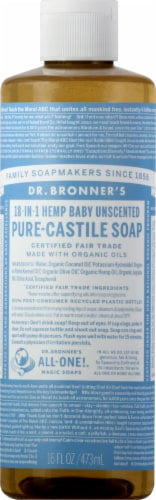 Dr. Bronner's 18-in-1 Hemp Baby Unscented Pure-Castile Liquid Soap Perspective: front