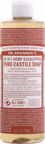 Dr. Bronner's 18-in-1 Hemp Eucalyptus Pure-Castile Liquid Soap Perspective: front