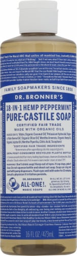 Dr. Bronner's 18-in-1 Hemp Peppermint Pure Castile Liquid Soap Perspective: front