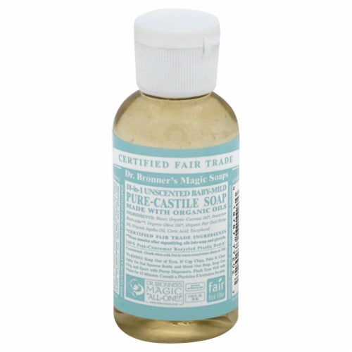 Dr. Bronner's Magic Soaps 18-in-1 Unscented Baby-Mild Pure-Castile Liquid Soap Perspective: front
