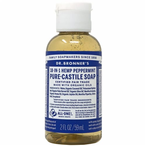 Dr. Bronner's 18-in-1 Hemp Peppermint Pure-Castile Liquid Soap Perspective: front